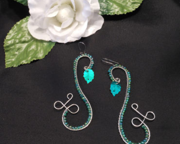 Elven Style Steel Wire Earrings with Green Leaf Accent Kidney Wire
