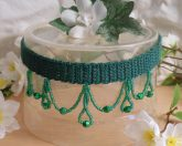 Emerald Green Crocheted Choker Beaded Dangles