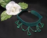 Emerald Green Crocheted Choker with Beaded Dangles