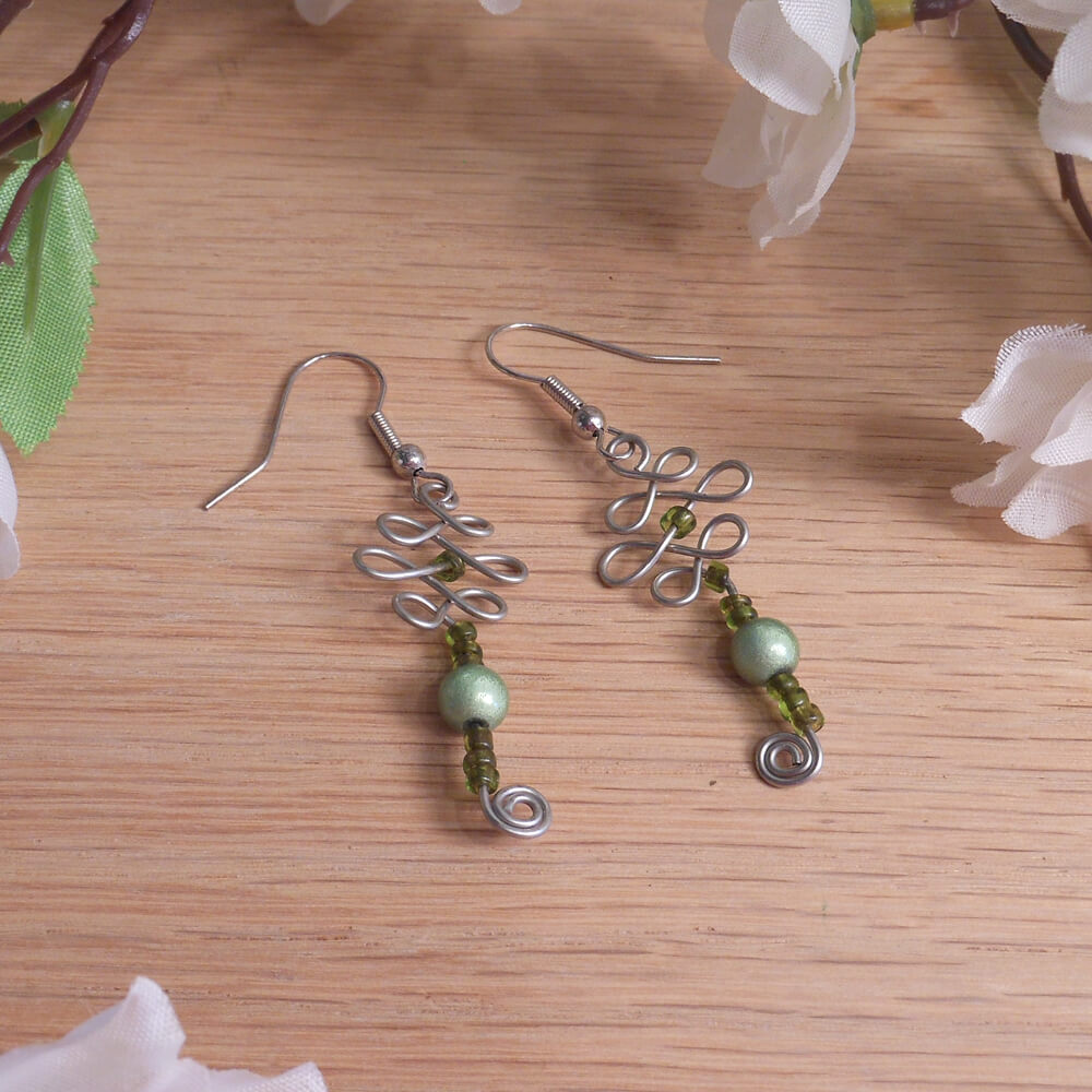 Formed Wire Earrings Green Accent Beads