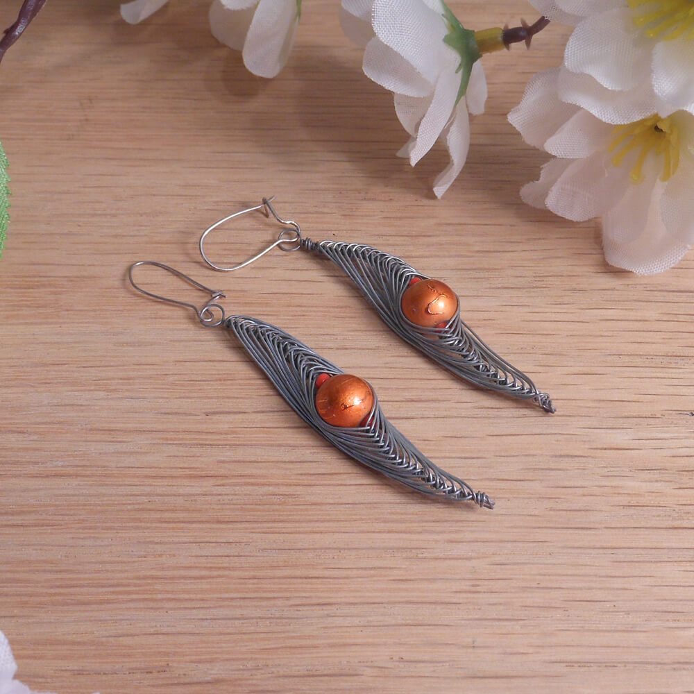 Formed Wire Earrings Herringbone Alien Crackle Glass Beads