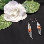 Formed Wire Earrings Herringbone Alien with Crackle Glass Beads