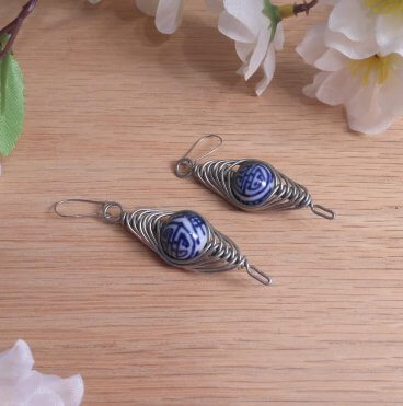 Formed Wire Earrings Herringbone Weave Ceramic Bead