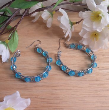 Formed Wire Earrings Hoop Blue Beads Shepherd Hook Style
