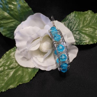 Formed Wire Earrings Hoop with Blue Beads Shepherd Hook Style