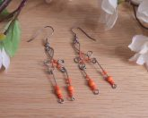 Formed Wire Earrings Neon Orange Bead Dangles Shepherd Hook Style