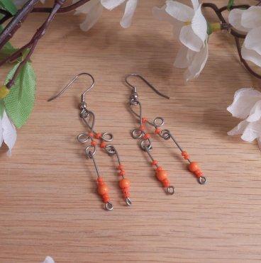 Formed Wire Earrings Neon Orange Bead Dangles Shepherd Hook Style