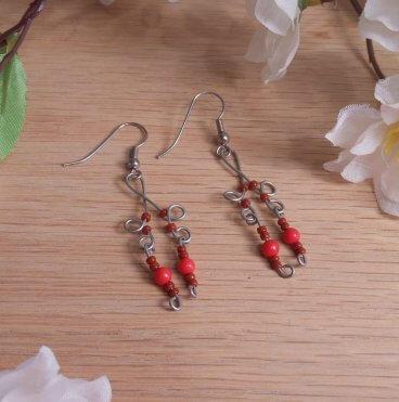 Formed Wire Earrings Red Bead Dangles Shepherd Hook Style