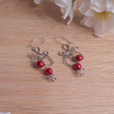 Formed Wire Earrings Swirly Red Metallic Bead Accents