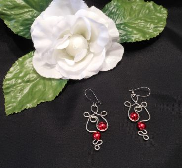 Formed Wire Earrings Swirly with Red Metallic Bead Accents