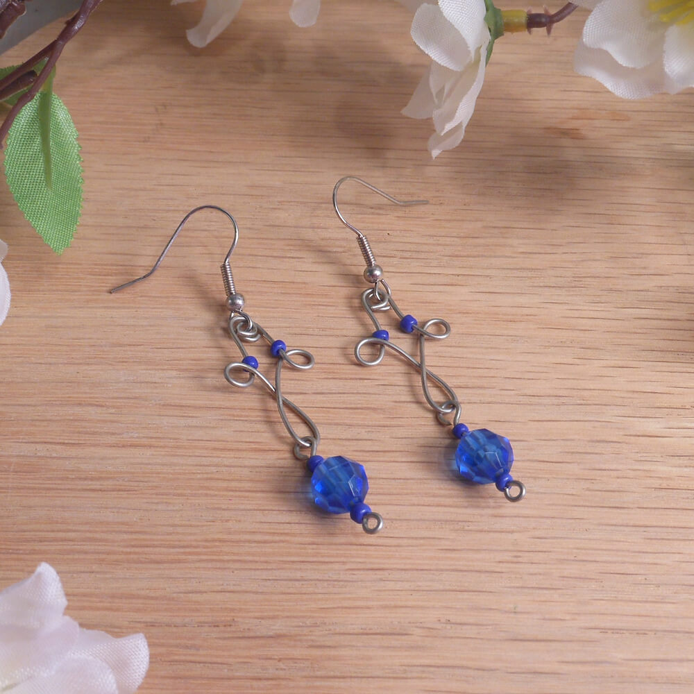 Formed Wire Earrings Triple Loop Cobalt Blue Accent Beads