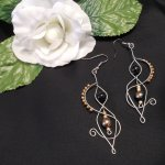 Formed Wire Earrings with Black and Gold Plated Glass Beads Steampunk Elvalien
