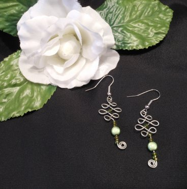 Formed Wire Earrings with Green Accent Beads
