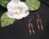 Formed Wire Earrings with Neon Orange Bead Dangles Shepherd Hook Style