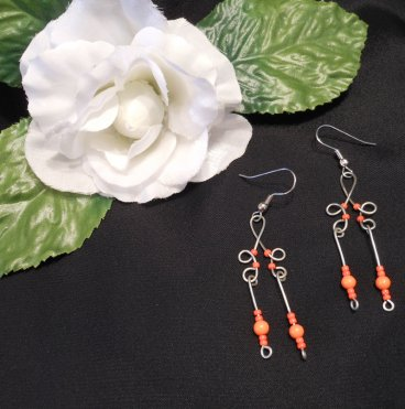 Formed Wire Earrings with Neon Orange Bead Dangles Shepherd Hook Style