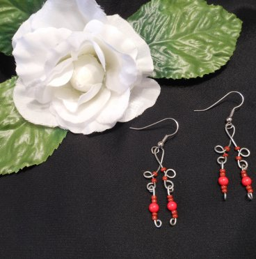 Formed Wire Earrings with Red Bead Dangles Shepherd Hook Style