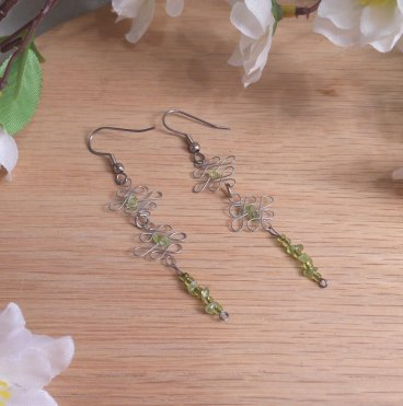 Formed Wire Peridot Earrings Green Glass Accent beads