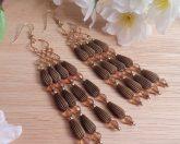 Gold Brown Amber Wirework Beaded Dangle Earrings Shepherd Hook