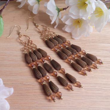 Gold Brown Amber Wirework Beaded Dangle Earrings Shepherd Hook