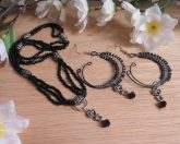 Gothic Necklace & Earring Set Elegant Black and Sterling Silver - Dark Goddess