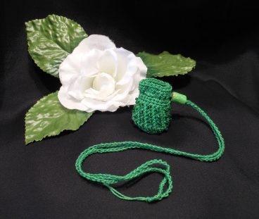 Green Crocheted Amulet Bag Necklace with Green Glass Beads Medicine Pouch Talisman Bag Mojo Bag