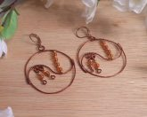 Handcrafted Copper Gold Copper Wire Yin Yang Hoop Beaded Dangle Leverback Earrings