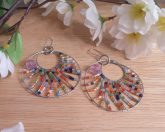 Handcrafted Double Loop Wire Rainbow Beads Lilac Facet Earrings