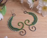 Handcrafted Green Wire Weave Beads Swoop Kidney Earrings Elvalien