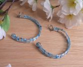 Handcrafted Three Hoops Snow Ice Beaded Blue Silver Kidney Earrings