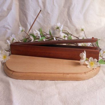 Incense Holder Stained Wood Hinged Faceted Beads Burner Container 2