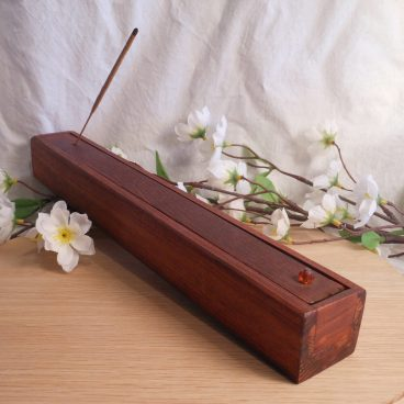 Incense Holder Stained Wood Hinged Faceted Beads Burner Container