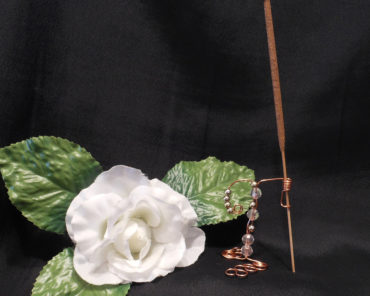 Incense Holder Vertical Copper Wire Wrap Gold Tone Beads Faceted Beads