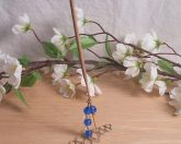 Incense Holder Vertical Steel Wire Wrap Faceted Beads Blue Clear