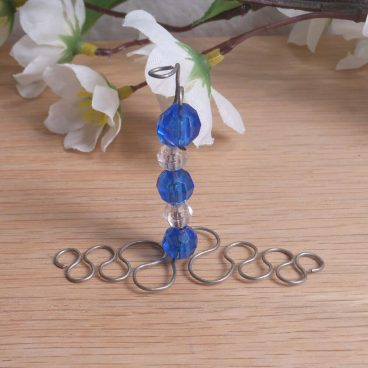 Incense Holder Vertical Steel Wire Wrap Faceted Beads Blue Clear detail