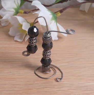 Incense Holder Vertical Steel Wire Wrap Faceted Beads detail