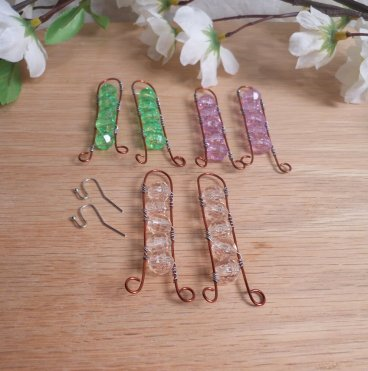 Interchangeable Copper Ladder Beaded Wire Wrap Earring Set