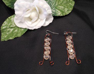 Interchangeable Copper Ladder Beaded Wire Wrap Earrings Set