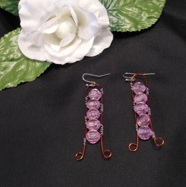 Interchangeable Copper Ladder Beaded Wire Wrap Earrings Set