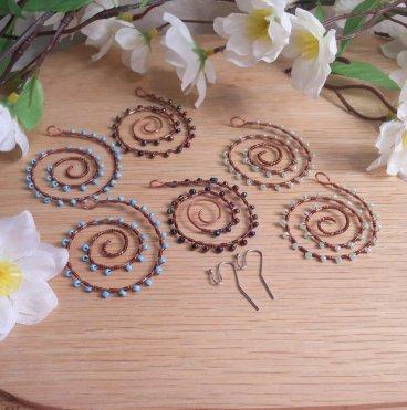 Interchangeable Copper Spiral Beaded Wire Wrap Earring Set