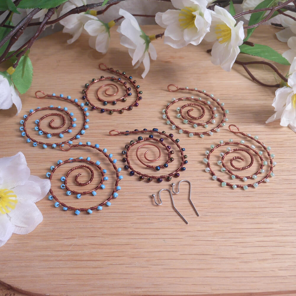 Interchangeable Copper Spiral Beaded Wire Wrap Earring Set