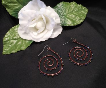 Interchangeable Copper Spiral Beaded Wire Wrap Earrings Set