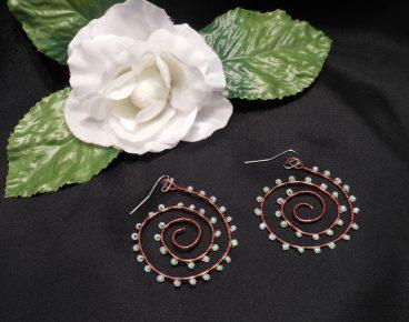 Interchangeable Copper Spiral Beaded Wire Wrap Earrings Set