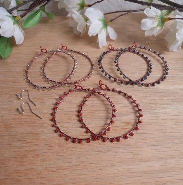 Interchangeable Red Hoop Beaded Wire Wrap Earring Set