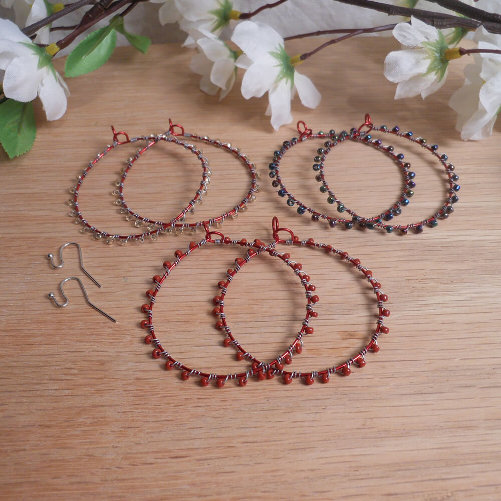 Interchangeable Red Hoop Beaded Wire Wrap Earring Set
