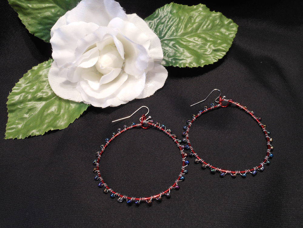 Interchangeable Red Hoop Beaded Wire Wrap Earrings Set