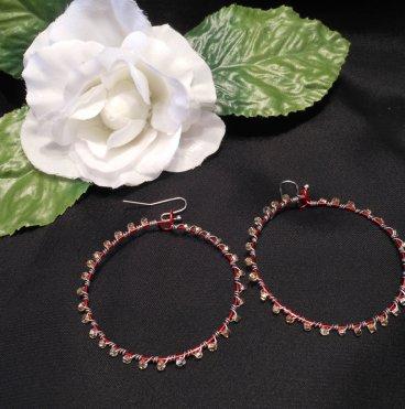 Interchangeable Red Hoop Beaded Wire Wrap Earrings Set