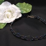 Iridescent and Hematite Beaded Wire Loop Choker