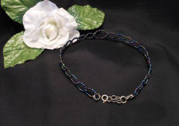 Iridescent and Hematite Beaded Wire Loop Choker