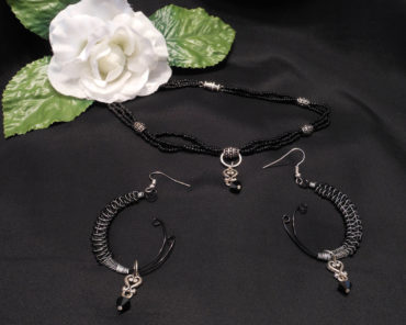 Necklace Earrings Set Elegant Black and Sterling Silver Beaded Wire Swarovski Beads
