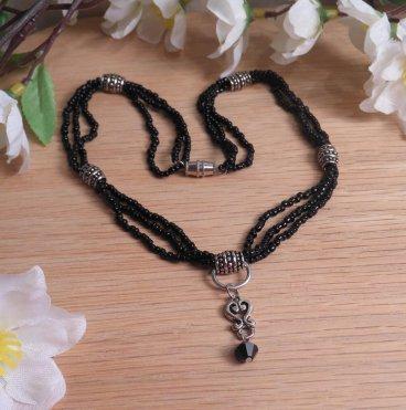 Necklace Earrings Set Elegant Black Sterling Silver Beaded Wire Swarovski Beads 2